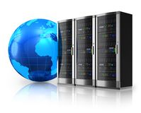 Network servers and Earth globe. Internet and global communications concept: row of network servers and blue Earth globe isolated on white reflective background Stock Photos