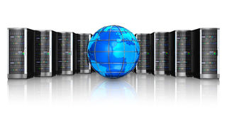 Network servers and Earth globe. Networking, web cloud computing and telecommunication service internet concept: row of black network servers with blue glossy Stock Image