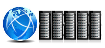 Network Servers with Globe Stock Images