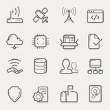 Network and servers line icons Stock Images