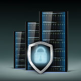 Network servers with a shield. Security database. Stock Photography