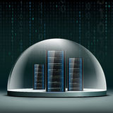 Network servers under a glass dome. Security database from hacke Royalty Free Stock Images