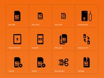 Network SIM cards icons on orange background Stock Photography