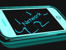 Network Smartphone Shows Connecting And Communicating On Web Royalty Free Stock Photography