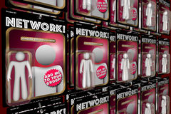Network Social Interaction Meeting New People Action Figures. 3d Illustration Royalty Free Stock Photo