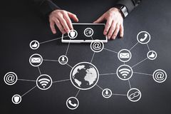 Network and social media. Technology and Business stock photo
