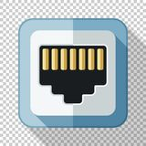 Network socket icon in flat style with on transparent background. Network socket icon in flat style with long shadow on transparent background vector illustration