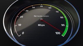 Network speed indicator. Internet speed with tachometer gauge. Render image Stock Photography