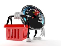 Network speed meter character holding shopping basket. On white background Royalty Free Stock Images