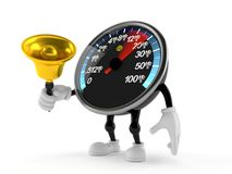 Network speed meter character ringing a handbell Stock Image