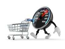 Network speed meter character with shopping cart. Isolated on white background Royalty Free Stock Image
