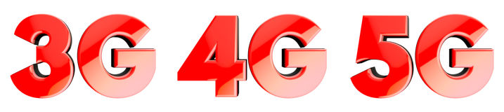 Network speed symbols: 3G, 4G, 5G. 3D. Red glossy icon set witg mobile network speed symbols: 3G, 4G, 5G. 3D render with deph of field Stock Photos