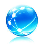 Network sphere icon. Vector illustration of glossy sleek and shiny network sphere icon Royalty Free Stock Images