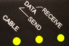 Network Status. Cable modem status: Cable, Data - Send, Receive Royalty Free Stock Photo