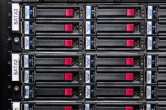 Network Storage Array. Large storage array of hard drives Royalty Free Stock Photos