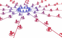 Network Support Service. Crowd of small symbolic 3d figures joined by lines, isolated Royalty Free Stock Photo