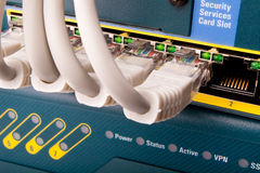 Network switch. And patch cables Stock Photography