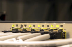 Network switch. Active ports of a highspeed network router stock photo