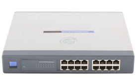 Network switch. Front panel with 16 ports isolated Royalty Free Stock Image