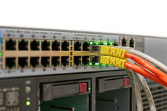 Network Switch with Cables Stock Image