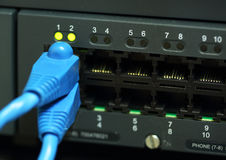 Network switch with cables stock photo