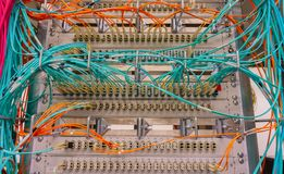 Network switch connections for network cable RJ45 and cable fiber optic cable royalty free stock photography