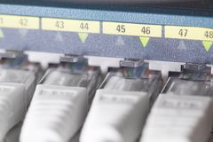 Network switch in datacenter Royalty Free Stock Image