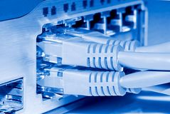 Network switch and ethernet cables Stock Photography