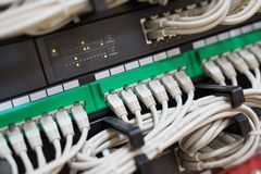 Network switch and ethernet cables connected Royalty Free Stock Images