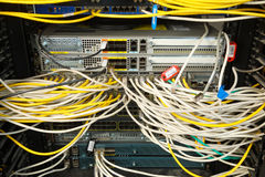 Network switch and ethernet cables. Network cables connected to switches Royalty Free Stock Photography
