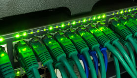 Network switch and ethernet cables glowing in server room Royalty Free Stock Photography