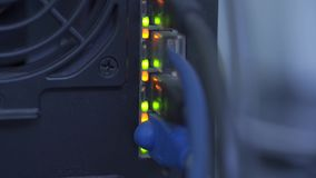 Network switch and ethernet cables. With indicator light. Shot in 4k resolution stock video