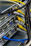 Network switch and ethernet cables Royalty Free Stock Photos