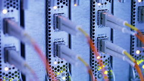 Network Switch and Hub. Closeup view with shallow DOF stock footage