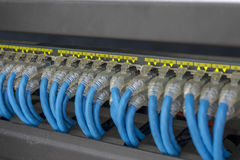 Network switch hub and a lot of cables royalty free stock photos