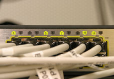 Network switching. Used ports of a highspeed router stock photo