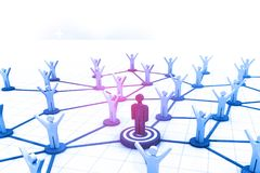 Network team. Social network, 3d illustration Royalty Free Stock Photography