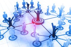 Network team. Social network. 3d illustration Stock Photos