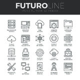 Network Technology Futuro Line Icons Set. Modern thin line icons set of  cloud computing network, internet data technology. Premium quality outline symbol Stock Images