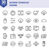 Network Technology Line Icon Set. Universal line icons about technology Stock Photography