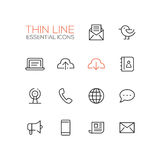 Network and Technology Symbols - thick line design icons set Stock Photo