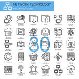 Network Technology , thin line icons set Stock Photo