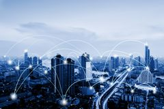 Network Telecommunication and Communication Connect Concept, Connection 5G Networking System of Infrastructure and Cityscape at
