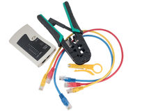Network tester and crimping tool with RJ45 connector Royalty Free Stock Photo