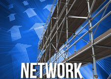 Network Text with 3D Scaffolding and arrow technology interface Royalty Free Stock Photos