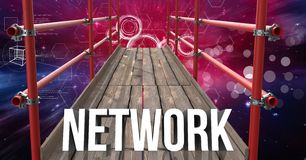 Network Text with 3D Scaffolding and space interface background. Digital composite of Network Text with 3D Scaffolding and space interface background Royalty Free Stock Image
