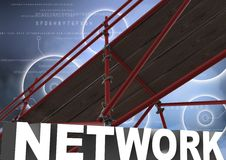 Network Text with 3D Scaffolding and technology interface sky Stock Photography