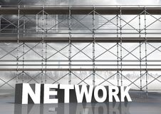 Network Text with 3D Scaffolding and technology interface sky Stock Images