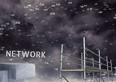 Network Text with 3D Scaffolding and technology numbers connecting interface Royalty Free Stock Photos