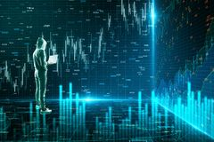 Network and trade concept. Side view of hacker using laptop on abstract forex chart room background. Network and trade concept. 3D Rendering stock photos